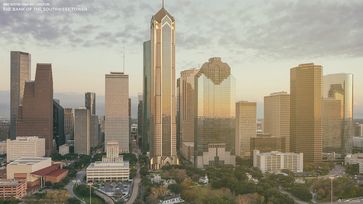 What Houston Could Have Looked Like: The Bank of the Southwest Tower: Aerial View