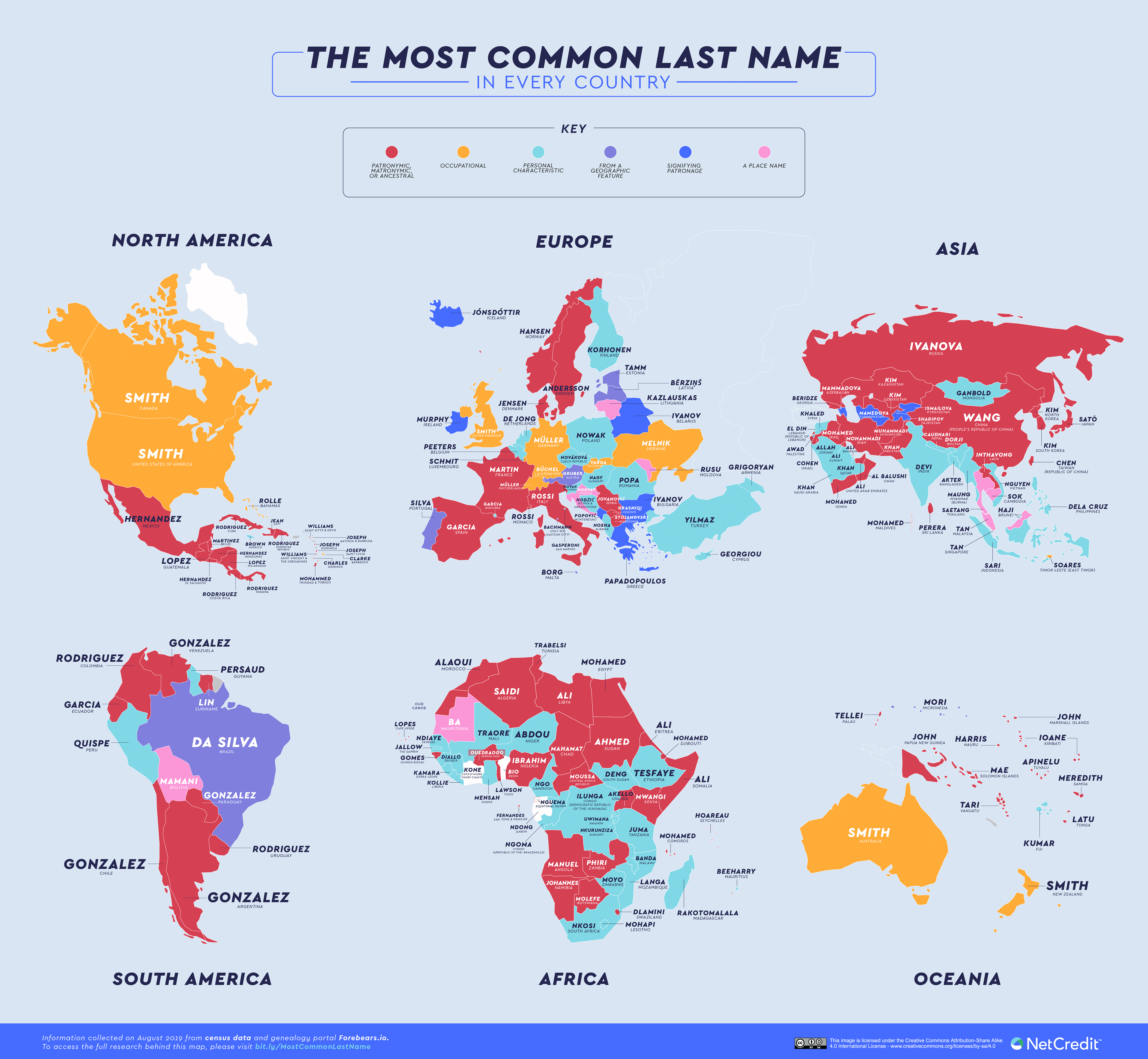 The Most Common Last Name in Every Country Full Map