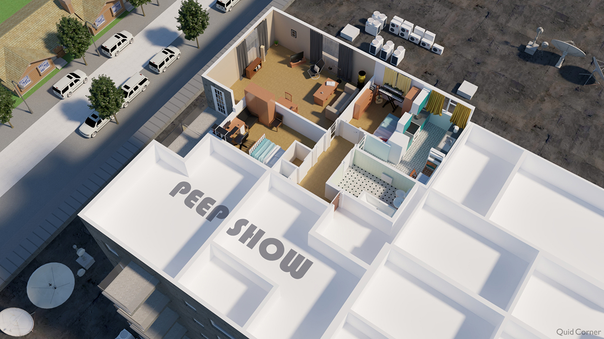 floor plan of Peep Show house