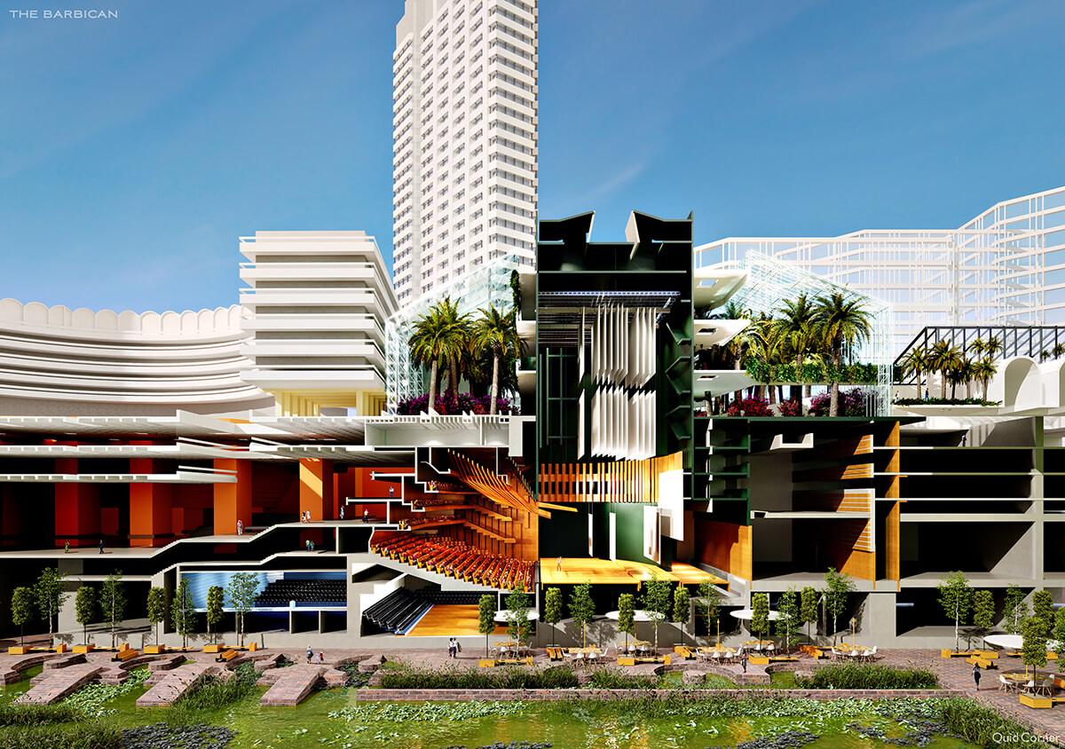 wide picture of open multi-floor building