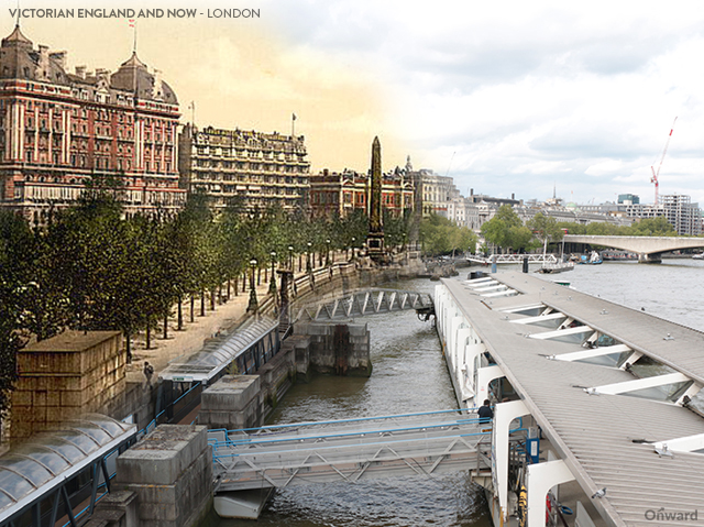Then and Now London Victoria Enbankment