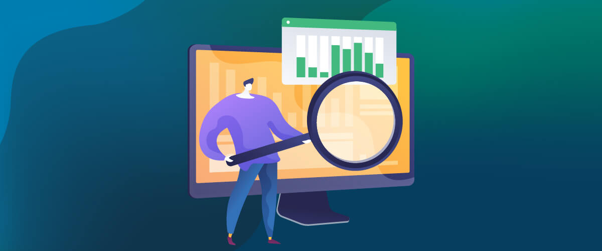 Vector Image with Man Holding Magnifying Glass to Look at Computer Screen