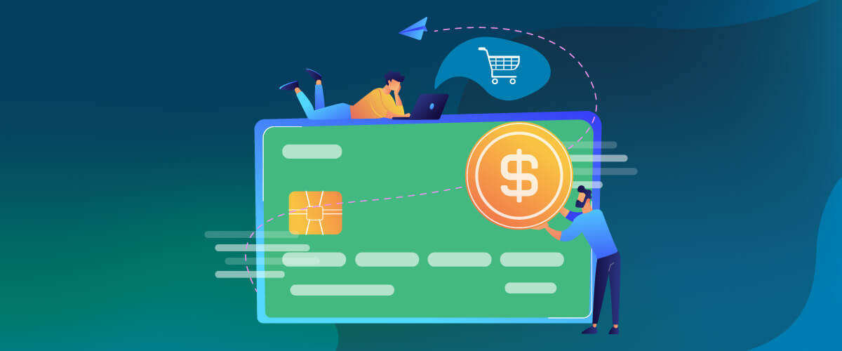 Vector Image with Large Credit Card and Two Figures Shopping