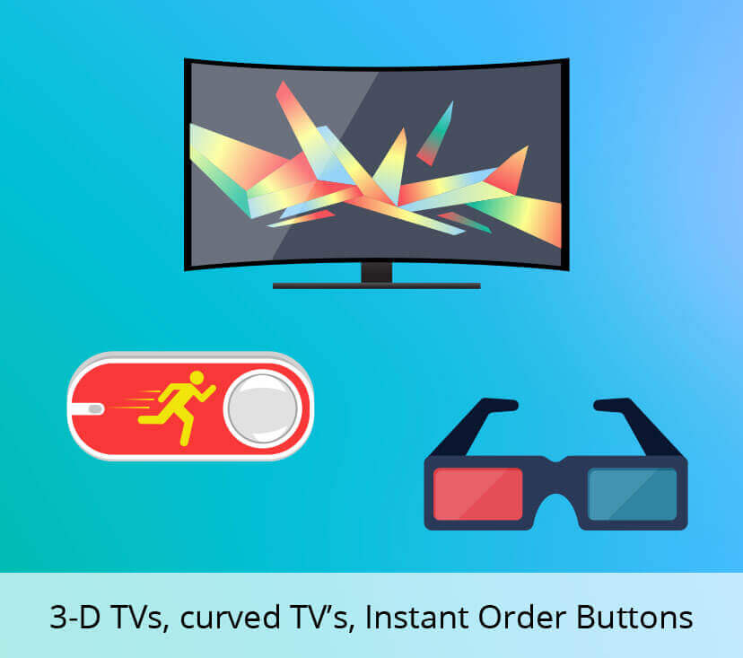 3-D TVs, curved TV's, Instant Order Buttons